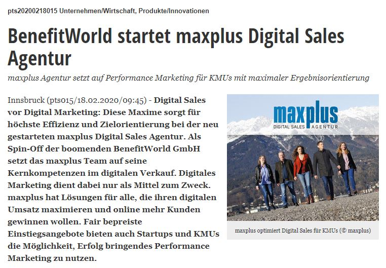 BenefitWorld startet maxplus Digital Sales Agentur